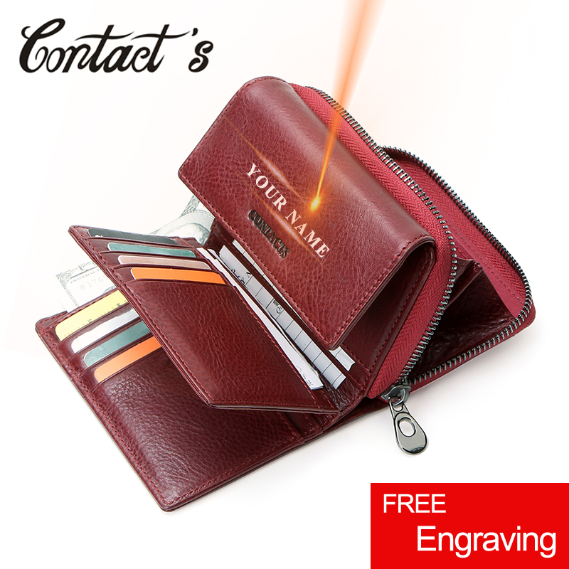Contact's Free Engraving Genuine Leather Women Wallets Short Bifold Wallet Gift For Girls Coin Purse Card Holder Small Money Bag
