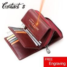 Contato livre gravura de couro genuíno mulheres carteiras curto bifold carteira presente para meninas moeda bolsa titular do cartão pequeno saco de dinheiro