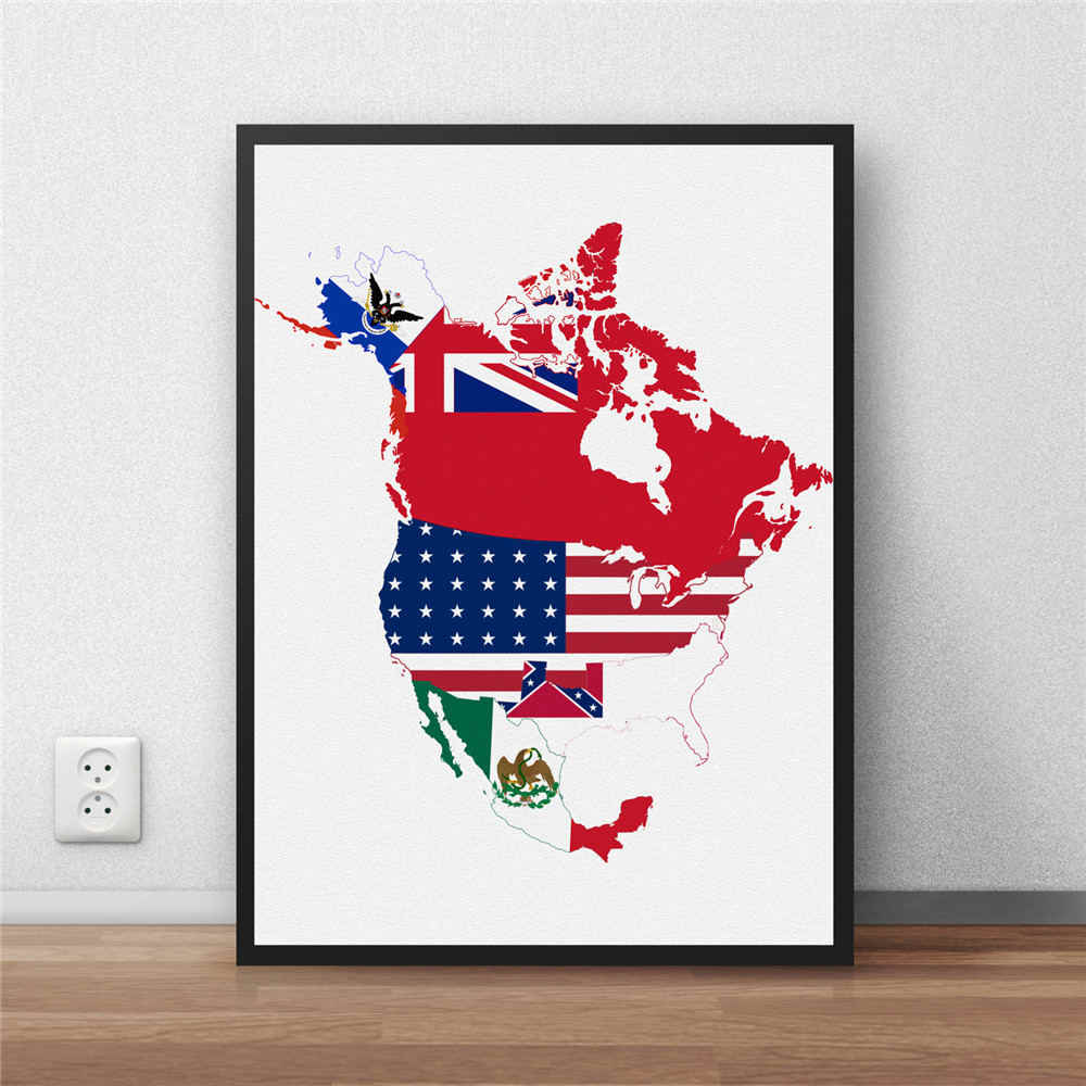 North America Country Map Paper Poster Modern Home Decor Antique Wall Sticker for bar cafe living room 30x42cm no frame