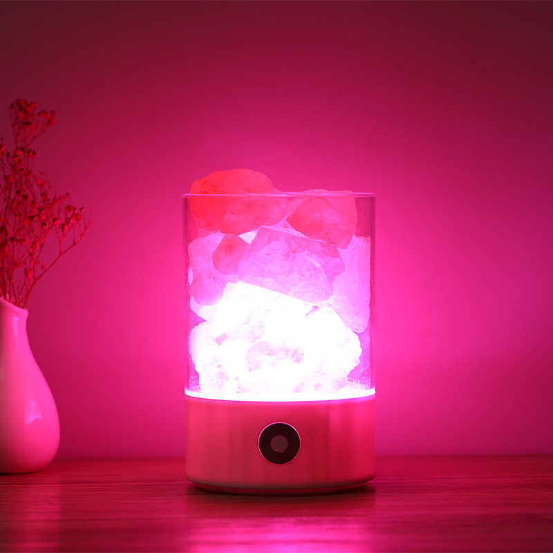 KHLITEC USB Crystal Light Natural Himalayan Salt Lamp Led Lamp Air Purifier Mood Creator Indoor Warm Light Table Lamp Lava Lamp