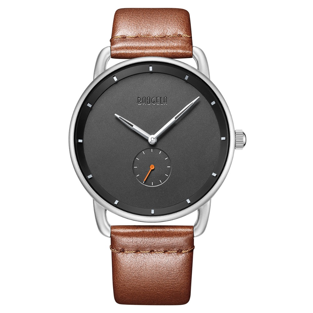 Baogela Men's Minimalism Quartz  Watches Fashion Casual Simple Leather Strap Ultra Thin Wristwatch Man 2.5 Needles  Waterproof
