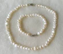 New natural Pearl set  6-7mm White pink Baroque Freshwater Pearl Necklace & Bracelet, 18 / 7.5 inches 16 inches 30 40mm aaa natural lavender fireball baroque pearl loose strand
