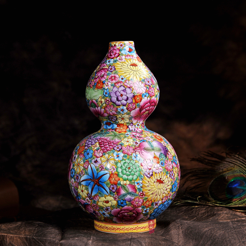 Antique Gourd Jingdezhen Enamel Flower Vase - Bed & Bath