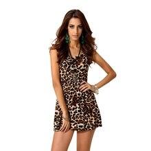 434a47cfb172 Estate del vestito della stampa Dell annata mini abito leopardo tropicale vestito  desigual per le donne sexy del randello Chiffo.