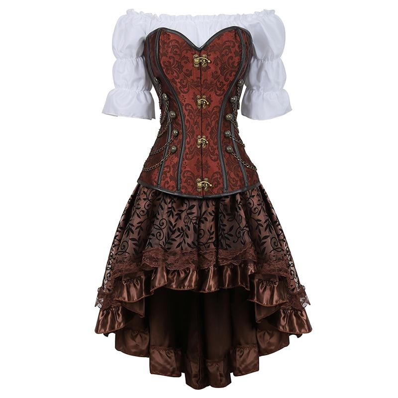 Women Luxury Bustier Corset Palace Banquet Halloween Costumes Renaissance Medieval Clothing 3 Piece Set Black Brown 2837-3