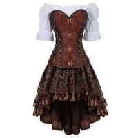 Women Luxury Bustier Corset Palace Banquet Halloween Costumes Renaissance Medieval Clothing 3 Piece Set Black Brown 2837 3