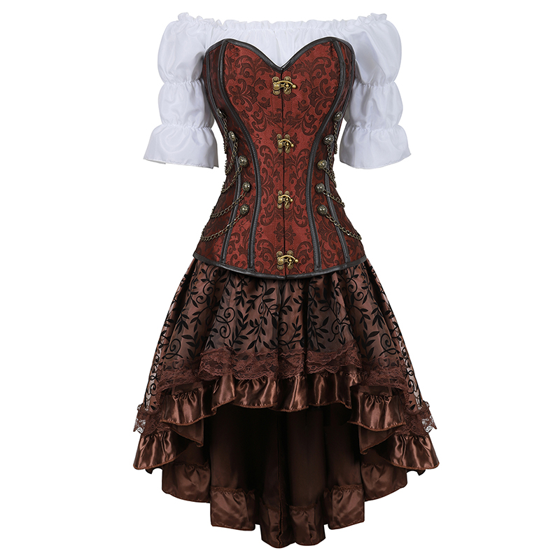Women Luxury   Bustier     Corset   Palace Banquet Halloween Costumes Renaissance Medieval Clothing 3 Piece Set Black Brown 2837-3
