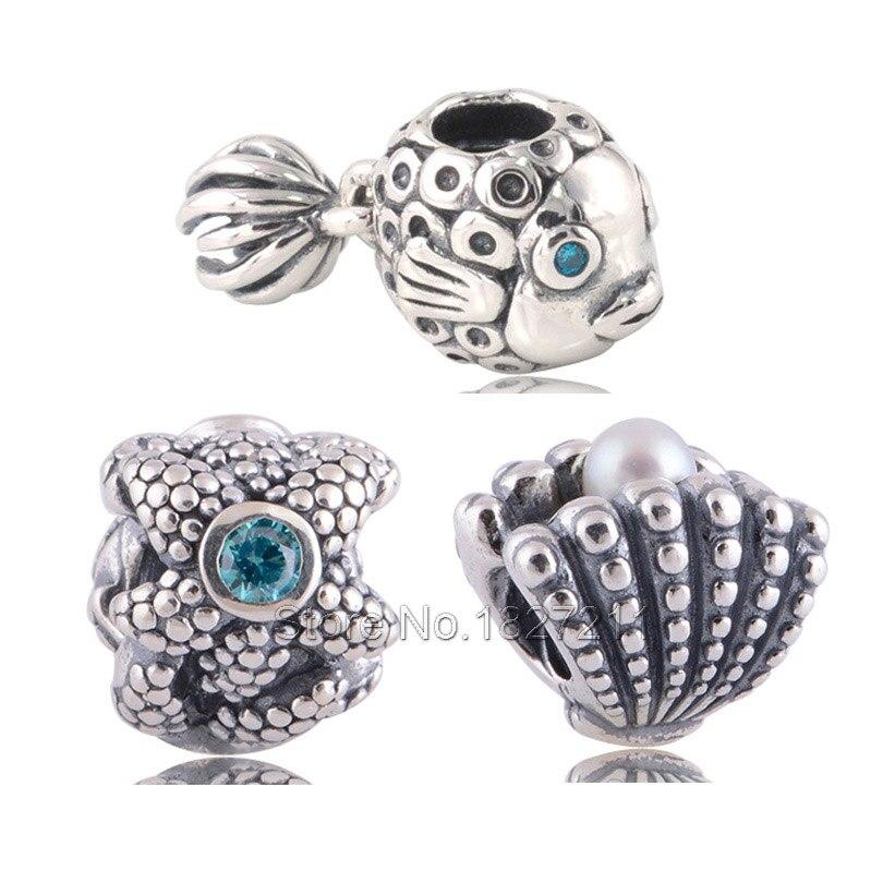Authentic Original 925 Sterling Silver Beads Fish Seashell Starfish DIY Jewerly Sets Charm Bead Fits Pandora