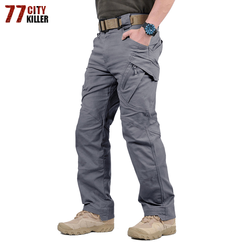 Military Style Cargo Pants Men Army Tactical Pants IX9 Combat Trousers Casual Work Trousers SWAT Thin Pocket Pants Plus Size 5XL