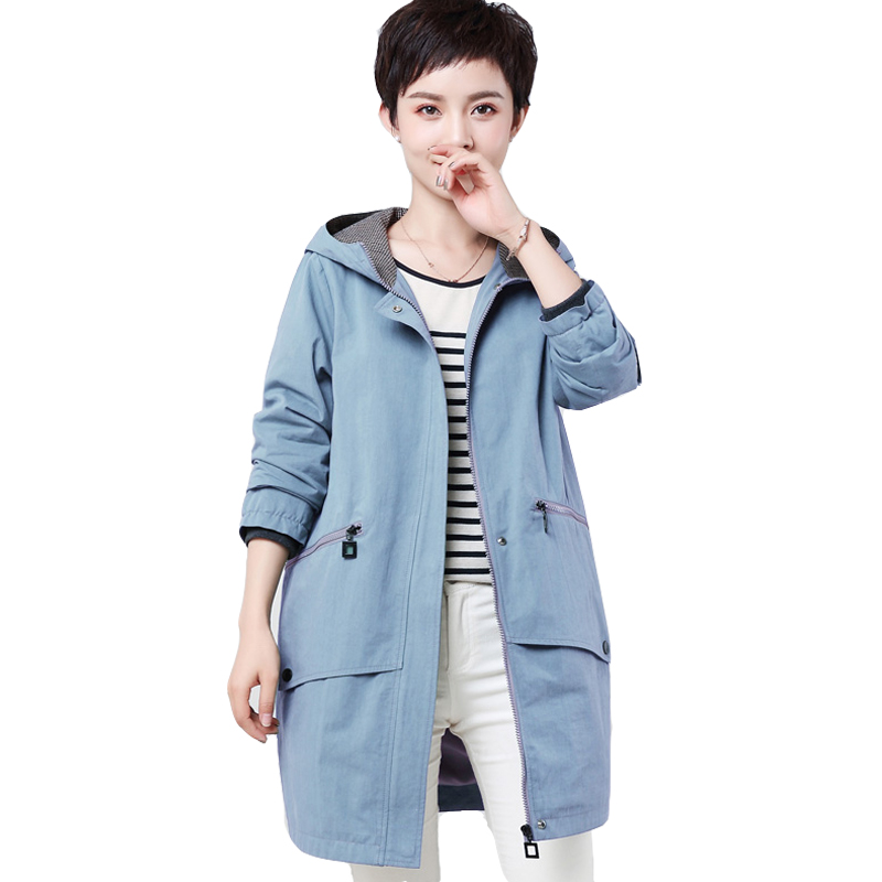 Trench   Coat For Women Fashion Spring Autumn Hooded Zipper Pockets Medium Length Outerwear Female Casual Windbreaker Plus Size4XL