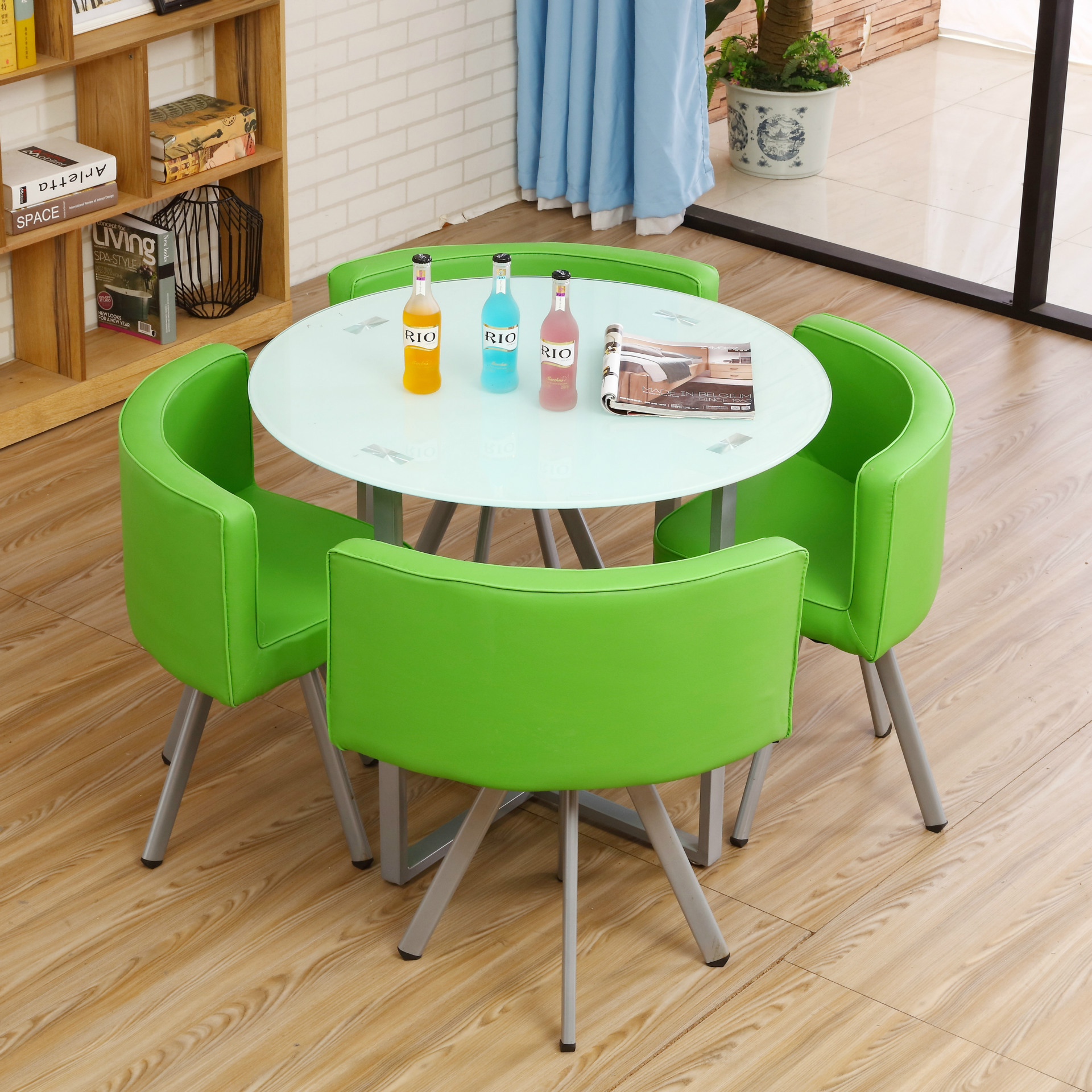 LK631 Ferroalloy+Pu +Toughened Glass Round Desk House Reception Meeting Tea Table Sets Fashion Design Chair Sets 4 Chair 1 Table glass dinner table milk tea shop reception desk and chair small family dining table