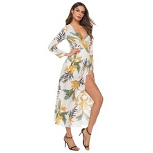 Free Shipping 2019 Fashion Elegant Women Sexy Boat Neck Glitter Deep V Print Party Dress Formal Long Clubwear
