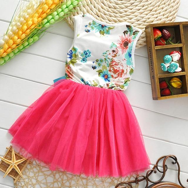 Summer New Design Flowers Girls Dresses High Quality Child's Wear Toddler TuTu Girls Dresses Clothing Mesh Kids Dress