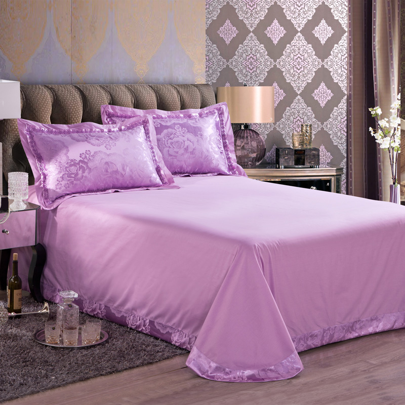 luxury purple embroidery bedding sets jacquard satin cotton duvet cover full king sizes bed spreads sheets adult wedding 45pcsin bedding sets from home