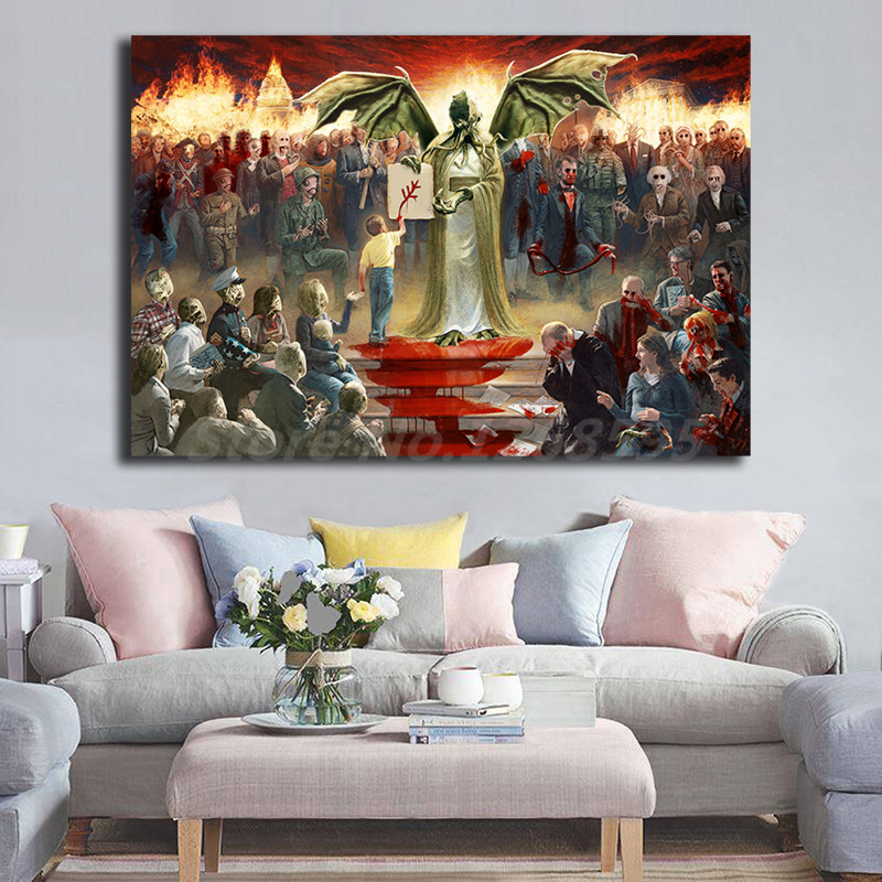 Home Decor Nation: One Nation Under Cthulhu Wall Art Canvas Poster And Print