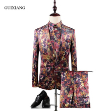 New style men boutique suits coat business casual skull and crossbones attern three-piece suit (Jacket, Shirt and Pants) M-3XL