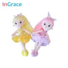 InGrace 7 renkler mini balerin bebekler kız hediyeler için 30 CM prenses renkli bebek yumuşak dolması dekorasyon oyuncaklar dans kız