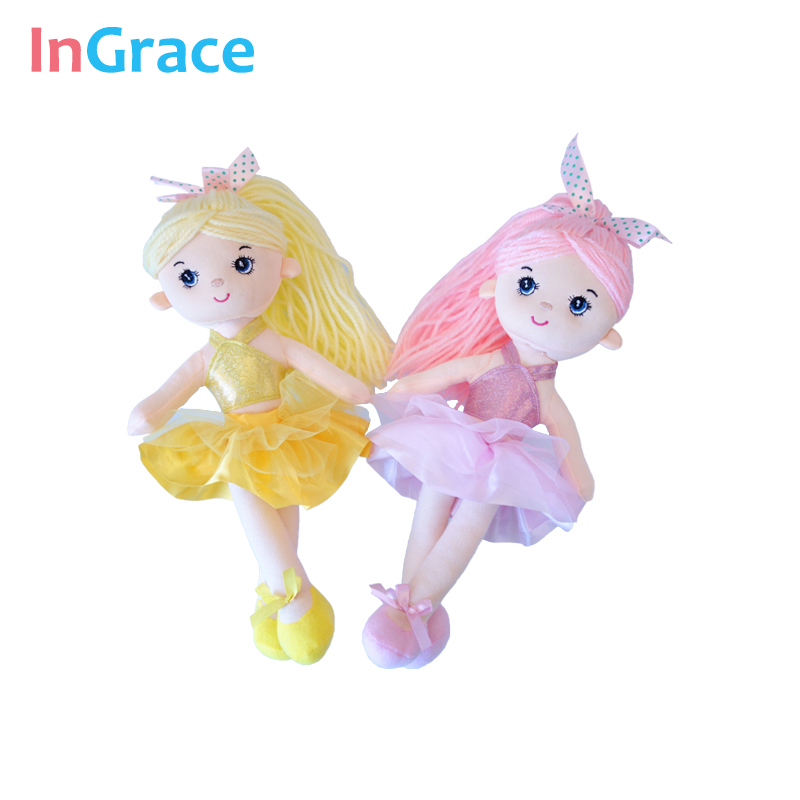Ingrace 7 colores mini bailarina muñecas para las niñas regalos 30 cm princesa colorido muñeca suave juguetes de peluche decoración muchacha de baile