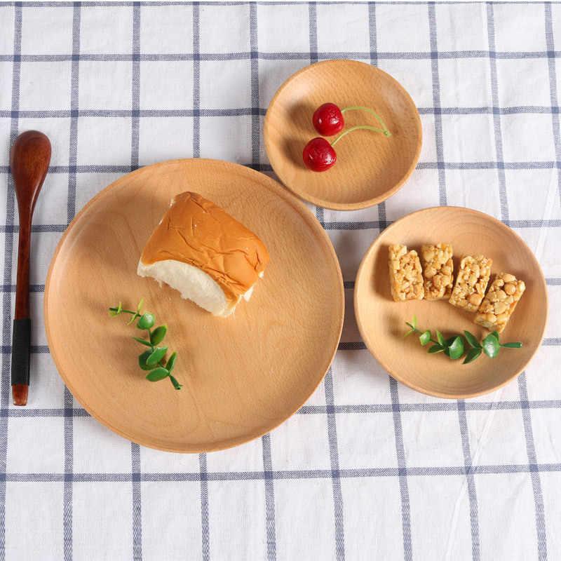 不規則なラウンド木製クルミ木材パンプレートフルーツ皿ソーサー茶トレイデザートディナープレート食器セット
