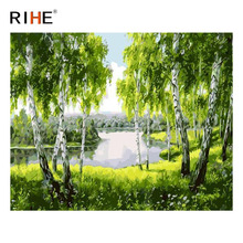 RIHE River Forest Diy Painting By Numbers Abstract Tree Grass Oil On Canvas Cuadros Decoracion Acrylic Modern Wall Art
