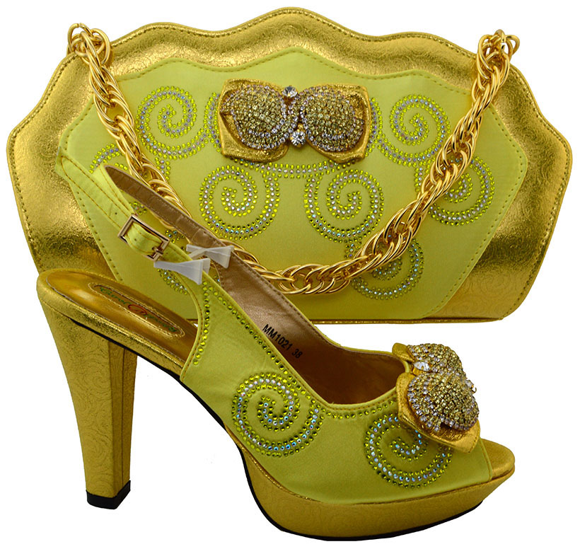 ФОТО 2017 Latest Italian Stone Shoes And Bag Set Wedding Pumps Nigerian Style Women High Heels Shoes And Bag To Match MM1021