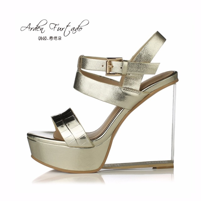 cheap sale wiki discount latest collections new 2017 summer shoes for woman platform 13cm genuine leather gold silver casual high heels sandals crystal wedges heels buckle DasWwDiT