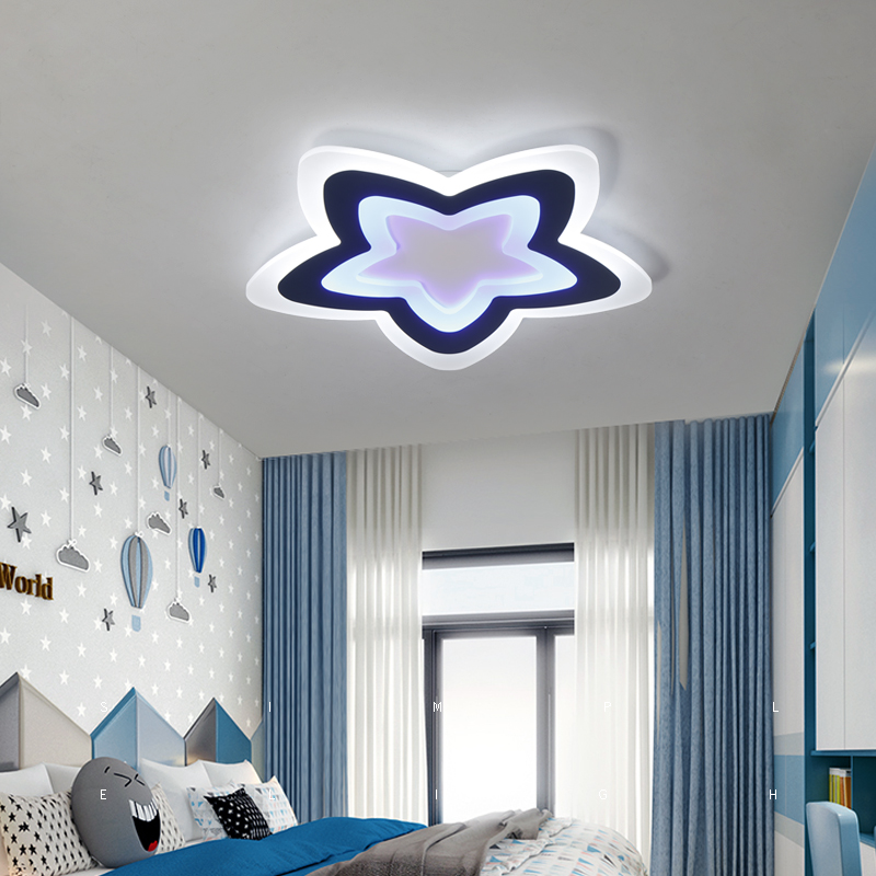AC85~260V star lampara de techo Modern Kids Room LED Ceiling Lights children room bedroom decor lighting ceiling lamp for baby noosion modern led ceiling lamp for bedroom room black and white color with crystal plafon techo iluminacion lustre de plafond