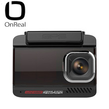 OnReal Dash Cam 3-in-1 Car DVR  3 IPS Russian Version Electronic Dog CarCam FHD dash cam with GPS Driving auto Recorder