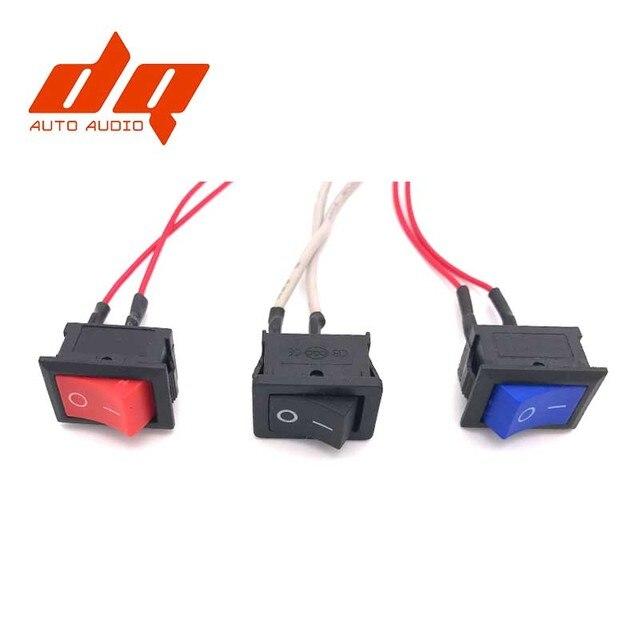 10pcs Black Red Blue Rocker Switch 20 Amp DC, Round Light 12 V Volt ...