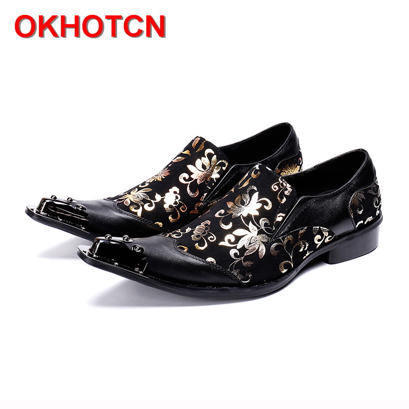 Italy High Heel Mens Pointed Metal Toe Dress Shoes Black Party Shoes Gold Floral Print Patchwork Men Suede Leather Formal Shoes pointed metal toe mens shoes formal design patchwork men leather shoes with crystal hoops spring autumn sapato masculino social