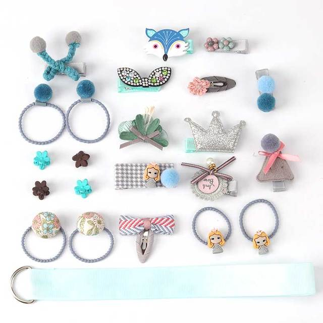 24 Piece clip set Cute cartoon rope bow flower animal Elastic hair band ring 5