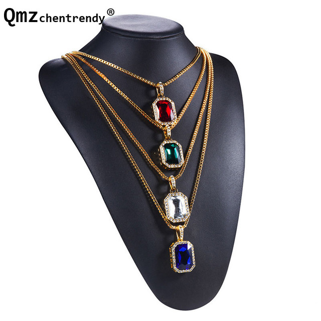Hipsters popular jewelry rectangular anti radiation big stone hipsters popular jewelry rectangular anti radiation big stone pendants gold box chains necklace for mem aloadofball Images