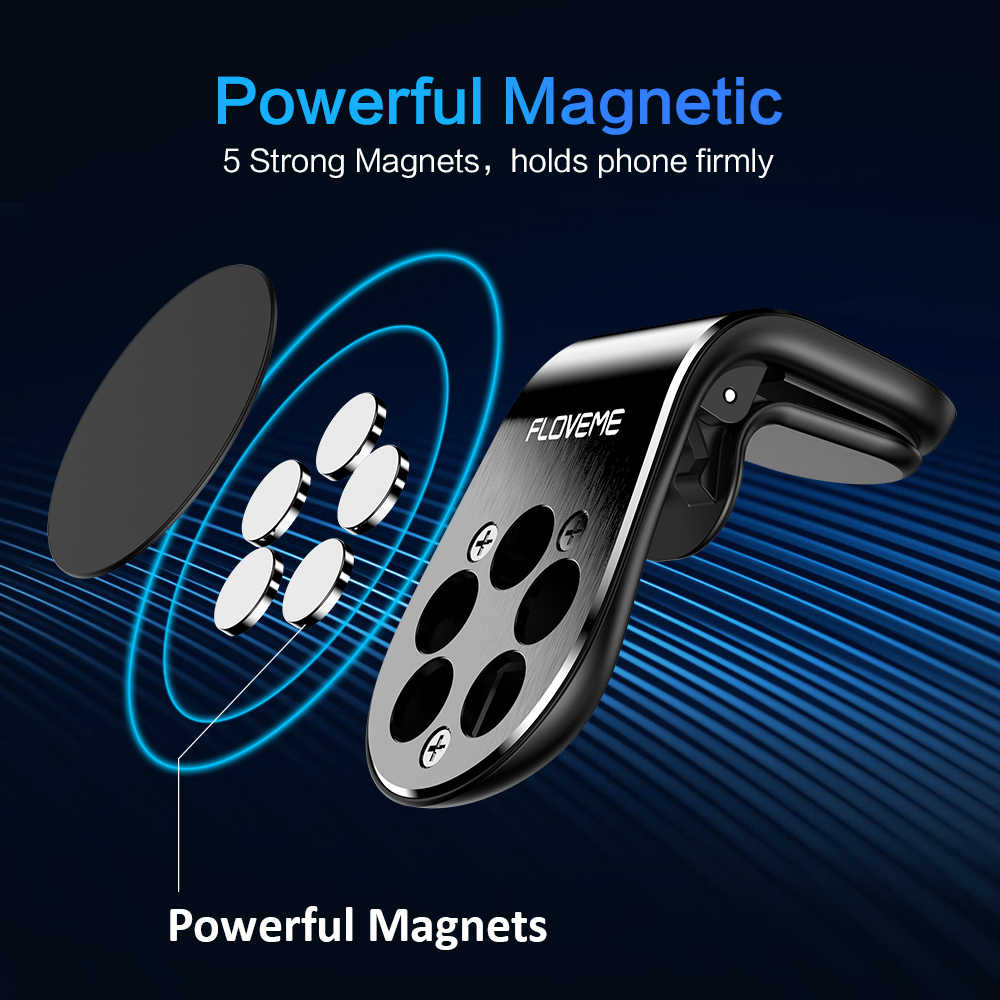 FLOVEME Magnetic Car Phone Holder For Phone in Car L Shape Air Vent Mount Stand Magnet Mobile Holder For Iphone X 8 7 Samsung S9