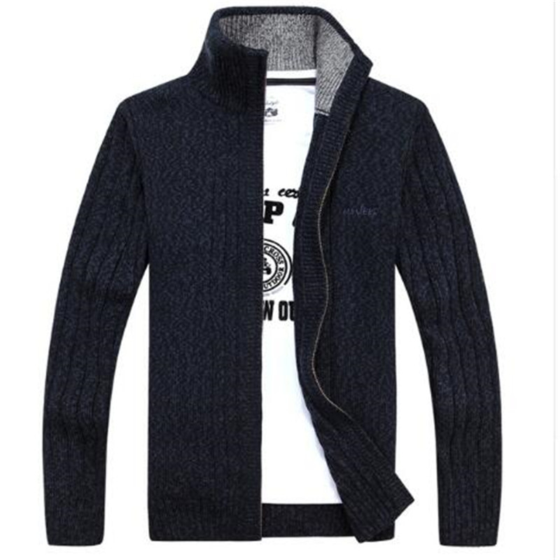 100% Wahr 2018 Neue Herren Pullover Mäntel Männlichen Winter Und Herbst Jacke Männer Pullover Kragen Schwarz Pullover Lose Komfort Warm Zipper Strickjacke Neueste Technik
