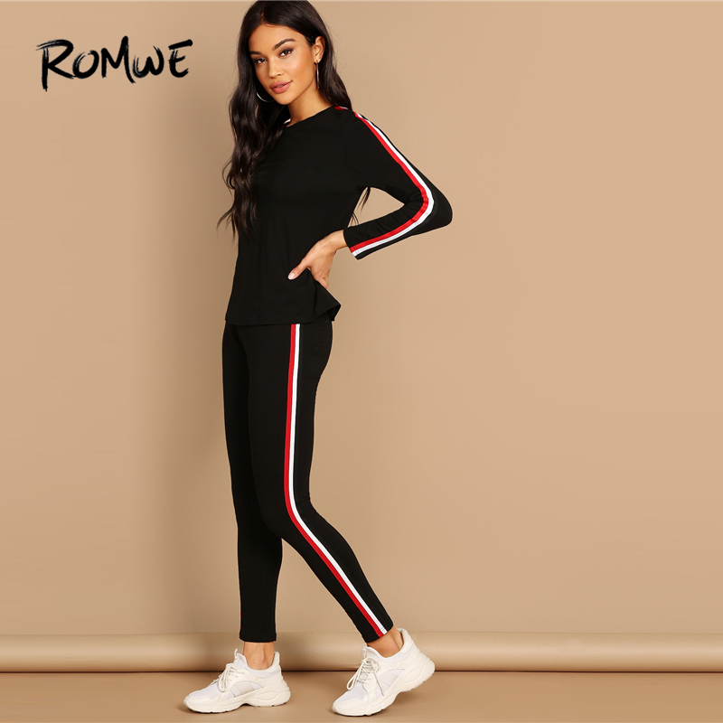ROMWE Striped Tape Tee Pants Set 2019 Fashion Black Round Neck Long Sleeve 2 Piece Set Women Spring Autumn Womens Two Piece