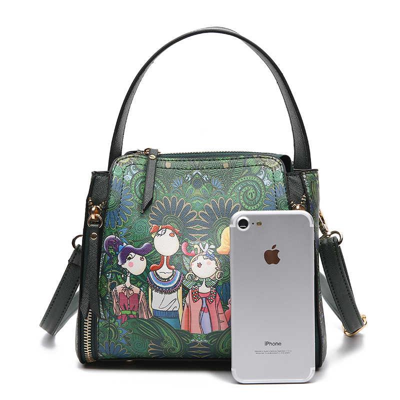 2019 yeni moda çift fermuarlı karikatür kız lüks bayan askılı çanta tasarımcısı bayanlar çanta marka deri omuzdan askili çanta çanta