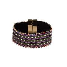 2017 Punk Warp Bracelet Rhinestone Crystal Wristband Cuff Bangle Crystal Magnetic Leather Bracelet for women pulseira mujer