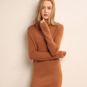 Image 4 - Adohon 2019女性の冬カシミヤセーターと秋ニットドレスプルオーバー高品質の女性のオフィス暖かい女性タートルネック