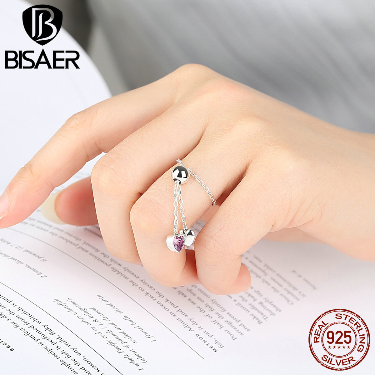 BISAER Real 100% 925 Sterling Silver Pink Hearts Clear CZ Finger Ring for Women European Fine Sterling Silver Jewelry ECR015