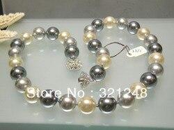 Bohême style 12mm haute qualité multicolore shell simulé-perle perles rondes collier pour les femmes bijoux élégants 18 pouces MY3009