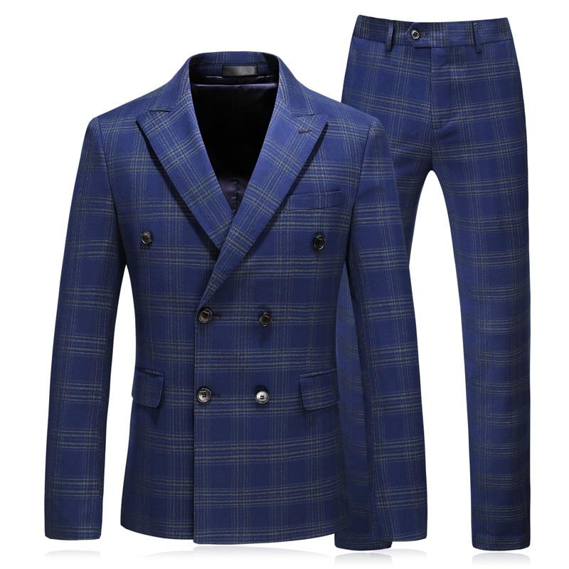 Plaid hommes costume double boutonnage mariage 2018 smoking marié formel hommes 3 pièces grande taille 5XL bleu hommes costumes