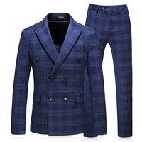 plaid men Suit double breasted wedding 2018 Tuxedo Groom Formal Mens 3 pieces plus size 5XL blue Male suits