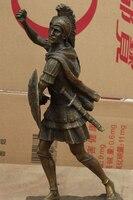 16 Chinese Folk Art Bronze Stand Soldier Warrior Hold Shield Statue Sculpture S0708 B0403