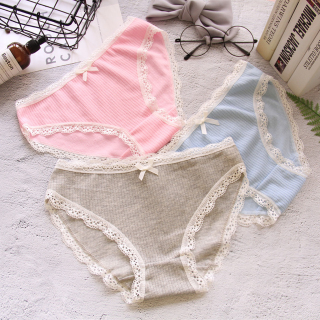 9fb067f78ae HUI GUAN Japan Style Sweet Girl Cute Underwear Women Striped Bow Lace  Panties String Female Fashion Soft Cotton Seamless Briefs