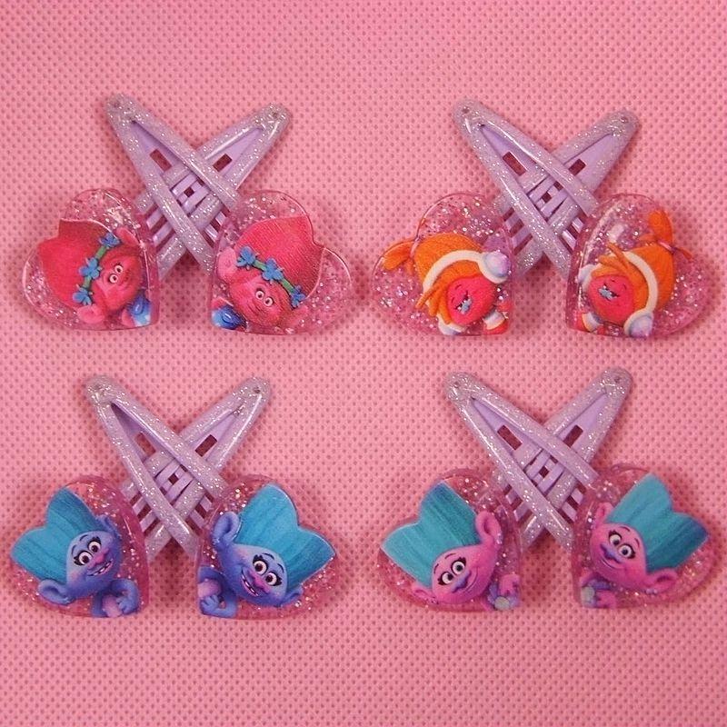 Fashion 8pcs/set Girls TROLLS Hair Claws Clips Headwear Cartoon Kids Accessories