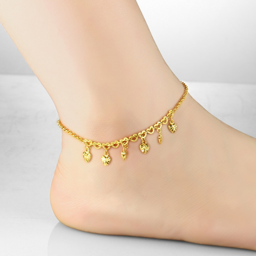 Anklet foot jewelry anklet bracelet heart leg chain gold color ...