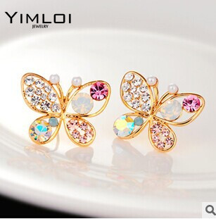 Fashion Vintage Jewelry Imitation Crystal Colorful Rhinestone Gold Color Butterfly Pearl Crystal Stud Earrings for Women E117