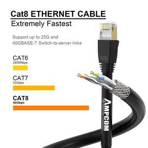 Image 3 - Kabel Ethernet AMPCOM S/FTP CAT8, szybki kabel krosowy 10 gb/s, 25 gb/s, 40 gb/s ze złoconym złączem RJ45