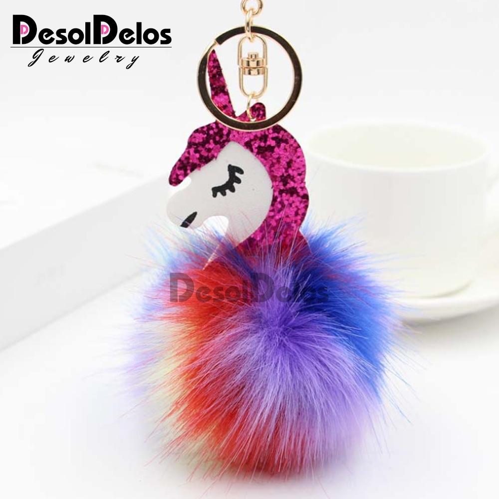 Unicorn pompom Keychain Colorful Fake Rabbit fur ball Fluffy licorne Key Chain Horse porte clef Bag Car Keyring for Women