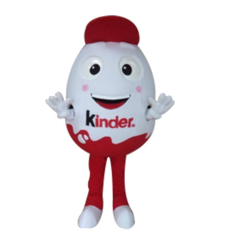 Bonito O Humpty Dumpty Traje Da Mascote Frango Ovos Casca de Ovo Branco e vermelho vestido Com Cara Feliz Pequeno Chapéu Vermelho para dia das bruxas